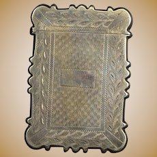 Sterling Ornate Monogrammable Etched Vesta Card Case Fine Silver   [QRXF]