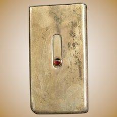 Sterling Red Glass Vesta Slide Cigarette Match Case Fine Silver   [QRXF]