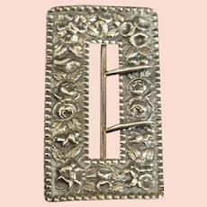 Sterling Ornate High Relief Floral Belt Buckle Fine Silver   [QRXF]