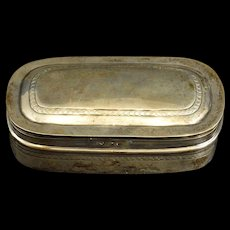 Sterling Patterned Ornate Rounded Snuff Box Fine Silver   [QRXF]