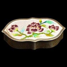 Sterling Ornate Korean Floral Enamel Design Pill Box Fine Silver   [QRXF]