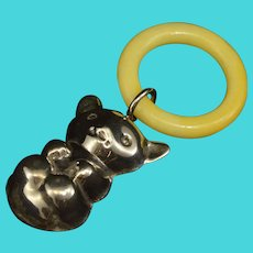 Sterling Puffy Teddy Bear Teething Ring Baby Rattle Fine Silver   [QRXF]