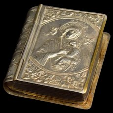 Silver Plated Ornate High Relief Bible Trinket Box Silver Plate   [QRXF]