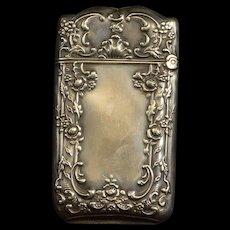 Sterling Victorian Floral Repousse Vesta Match Case Fine Silver   [QRXF]