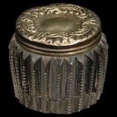 Sterling Glass Dot Trim Ornate Scroll Powder Jar Fine Silver   [QRXF]