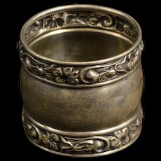 Sterling DAE Monogrammed Floral Pattern Napkin Ring Fine Silver   [QRXF]