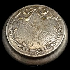 Sterling Ornate Textured Round Bow Accent Pill Box Fine Silver   [QRXF]