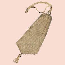 Sterling Art Deco Etched Mesh Purse Tassel Handbag Fine Silver   [QRXF]