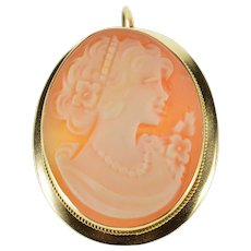 14K Oval Carved Shell Ornate Cameo Rope Milgrain Pendant/Pin Yellow Gold  [QWXF]