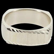 14K Squared Diamond Cut Trim Textured Wedding Band Ring Size 5.75 White Gold [QWXF]