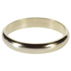 14K 3.2mm Rounded Simple Classic Design Wedding Ring Size 7 White Gold [QWXF]