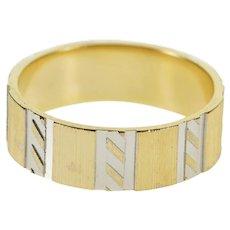 14K Striped Diagonal Pattern Textured Wedding Band Ring Size 7 Yellow Gold [QWXF]