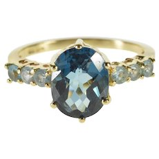 10K Oval Faceted Swiss Blue Topaz Accented Ring Size 7 Yellow Gold [QWXF]
