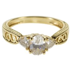 14K Three Stone Oval Trillion Travel Engagement Ring Size 7.75 Yellow Gold [QWXF]