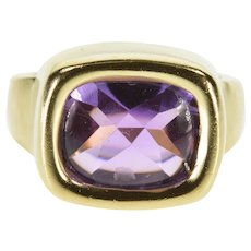 14K Fancy Amethyst Cabochon Solitaire Statement Ring Size 6 Yellow Gold [QWQC]