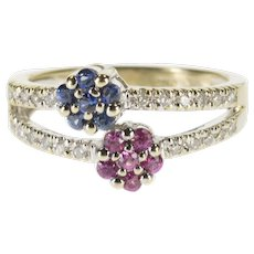 18K Pink Blue Sapphire Floral Diamond Tiered Ring Size 7 White Gold [QWXF]