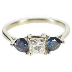 14K 1.72 Ctw Princess Diamond Sapphire Engagement Ring Size 7 White Gold [QWXF]