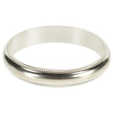 10K Rounded Dot Milgrain Trim Men's Wedding Band Ring Size 11 White Gold [QWXF]