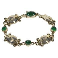 """Sterling Silver Georg Jensen Green Carnelian Fancy Anklet Bracelet 7.25""""   [QWXF]"""
