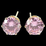14K Round Brilliant Pink Cubic Zirconia Solitaire Stud EarRings Yellow Gold  [QRXK]