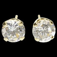 14K Solitaire Round Brilliant Cut Cubic Zirconia Stud EarRings Yellow Gold  [QRXK]