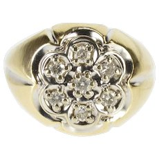 10K 0.42Ctw Diamond Inset Scalloped Cluster Men's Ring Size 10.5 Yellow Gold [QWXF]
