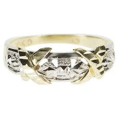 10K Two Tone Textured X Design Patterned Band Ring Size 6.75 Yellow Gold [QWXF]