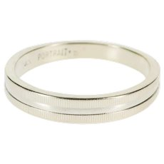 14K Grooved Pattern Graduated Wedding Band Ring Size 7.5 White Gold [QRXQ]