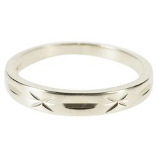 14K Grooved X Patterned Design Wedding Band Ring Size 5.5 White Gold [QWXF]