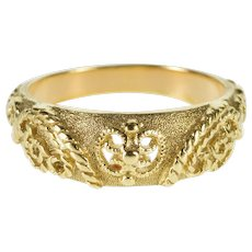 14K Ornate Textured Elaborate Pattern Wedding Band Ring Size 6.5 Yellow Gold [QWXF]