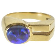 14K Oval Black Opal Cabochon Grooved Square Design Ring Size 6.5 Yellow Gold [QWXF]