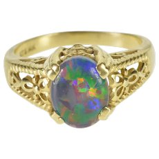 14K Oval Syn. Opal Elaborate Design Fancy Ring Size 7 Yellow Gold [QWXF]