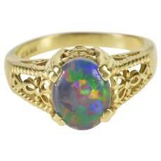 14K Oval Syn. Opal Elaborate Design Fancy Ring Size 7 Yellow Gold [QWQC]