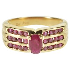 10K Oval Ruby Channel Accented Statement Ring Size 6 Yellow Gold [QWQC]