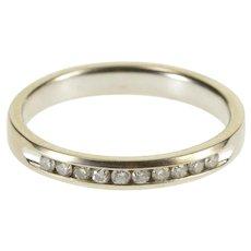 10K Channel Inset Classic Diamond Wedding Band Ring Size 5 White Gold [QRXQ]