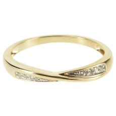10K Diamond Wavy Ridged Twist Wedding Band Ring Size 9 Yellow Gold [QWXF]