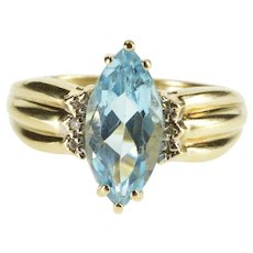 10K Marquise Blue Topaz Diamond Accent Statement Ring Size 7.5 Yellow Gold [QRXQ]