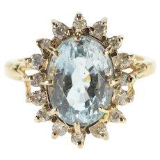 14K Oval Blue Topaz Diamond Ornate Halo Statement Ring Size 6 Yellow Gold [QRXQ]