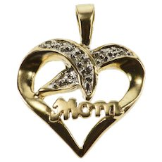 10K Diamond Accented Wavy Criss Cross Mom Heart Pendant Yellow Gold  [QWXF]