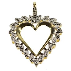 10K Textured Diamond Accent Petal Heart Pendant Yellow Gold  [QWXF]