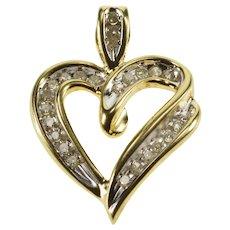 10K Diamond Channel Inset Wavy Heart Pendant Yellow Gold  [QRXQ]