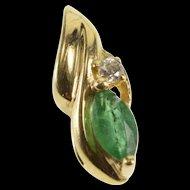 10K Marquise Garnet Diamond Accent Wavy Pendant Yellow Gold  [QRXS]