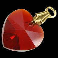 Gold Filled Sim. Ruby Faceted Heart Design Love Symbol Charm/Pendant   [QRXS]