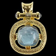 14K Carved Face Blue Glass Textured Fancy Statement Pendant Yellow Gold  [QRXS]