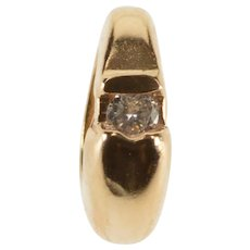 14K Graduated Diamond Inset Oval Ring Bead Slide Pendant Rose Gold  [QWXT]