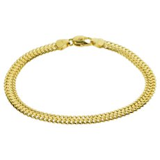 """14K 5.0mm Pressed Doubled Curb Link Chain Bracelet 6.75"""" Yellow Gold  [QWXF]"""