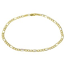 "10K 3.1mm Figaro Link Fancy Link Loose Chain Bracelet 8"" Yellow Gold  [QWXF]"