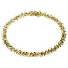 "14K 2.50 Ctw Diamond Inset Wavy Link Tennis Bracelet 7"" Yellow Gold  [QWXF]"