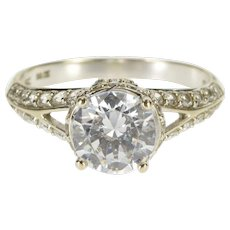 14K Round Cut Encrusted Ornate Travel Engagement Ring Size 8 White Gold [QWXT]