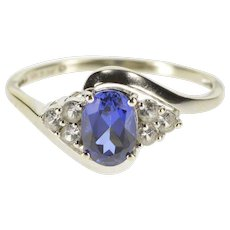 10K Oval Syn. Sapphire Cubic Zirconia Cluster Accent Ring Size 8 White Gold [QWXT]